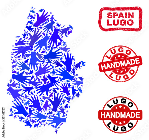 Vector handmade combination of Lugo Province map and grunge seals. Mosaic Lugo Province map is done with random blue hands. Rounded and crooked red seals with distress rubber texture.