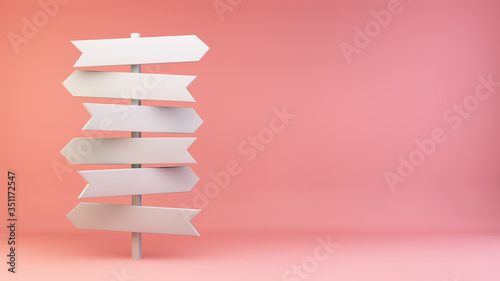 White crossroads signage on pink background Wallpaper Mural
