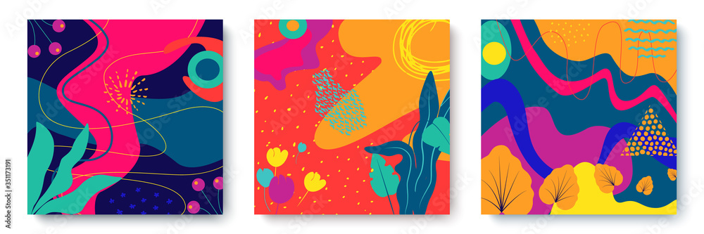 Fototapeta Set of bright abstract cards with tropical leaves. Creative doodles of various shapes and textures. Vector illustration ideal for prints, flyers, banners, cards, invitations.