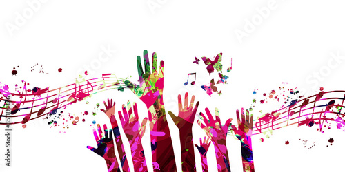 Obraz Music background with colorful music notes and hands vector illustration design. Artistic music festival poster, live concert events, party flyer, music notes signs and symbols with crowd of people - fototapety do salonu