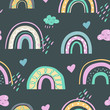 Cute kids rainbow seamless scandinavian pattern with hand drawn rainbows. Simple doodle elements in pastel colors.