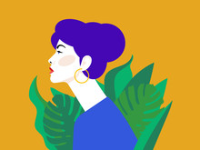 Beautiful Young Woman With Superb Blue Hair. Side View. Yellow Background With Green Plants. Portrait Of A Young Girl For A Poster, Stock, Flyer Or Postcard.