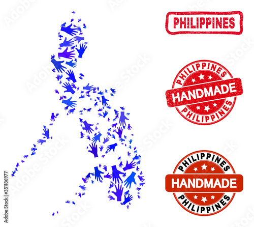 Photo Vector handmade composition of Philippines map and rubber seals