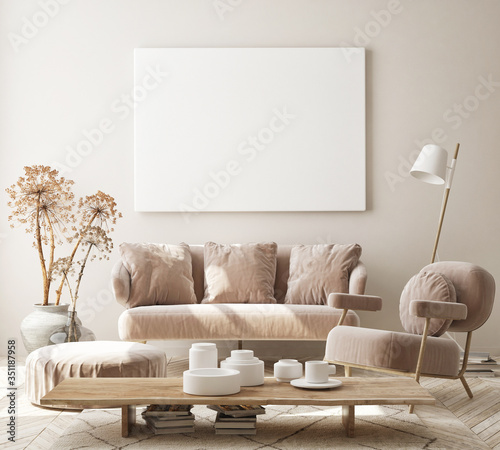 Obraz mock up poster frame in modern interior background, living room, Scandinavian style, 3D render, 3D illustration - fototapety do salonu