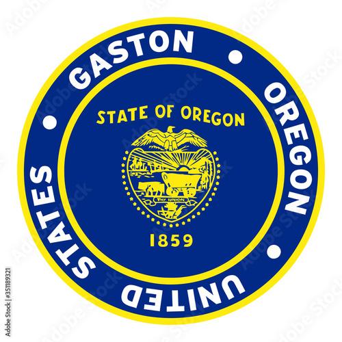 Round Gaston Oregon United States Flag Clipart 3 Tableau sur Toile
