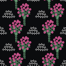 Blooming Orchard Seamless Vector Folk Pattern On Black Background. Decorative Surface Print Design. For Fabric, Stationery, And Packaging.