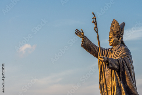 Canvas Statue of Pope John Paul II at the St