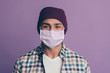Leinwanddruck Bild - Close up photo amazing funky macho guy stay home covid-19 quarantine look wearing medical mask casual plum color headwear checkered plaid shirt isolated purple violet background