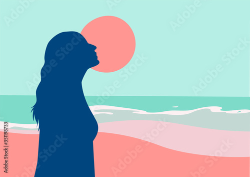 Fotografía Girl Loves the Summer Beach Vector Illustration