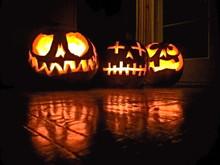 Illuminated Jack-o-lanterns During Halloween