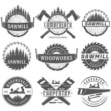 Set Of Monochrome Vector Logos Emblems End Labels For Carpentry, Woodworkers, Lumberjack, Sawmill Service.Isolated On White Background.