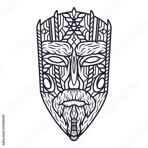 Carving ethnic wooden mask of face, totem Wallpaper Mural