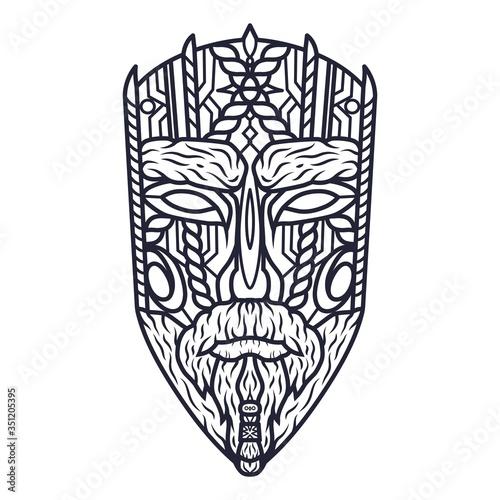 Fotografía Carving ethnic wooden mask of face, totem