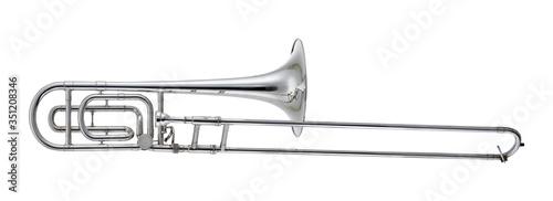Fototapeta Nickel Trombone Music Instrument Isolated on White background obraz