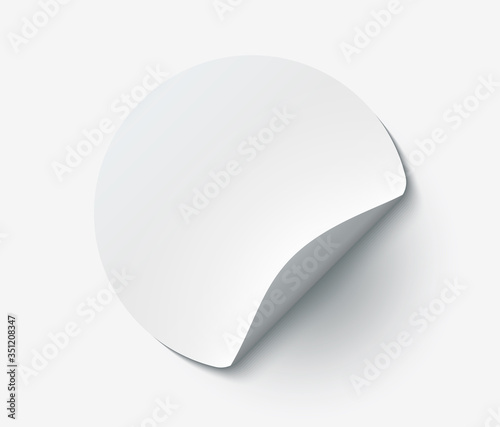 Valokuvatapetti Mockup realistic paper round sticker white color with curved corner and shadow
