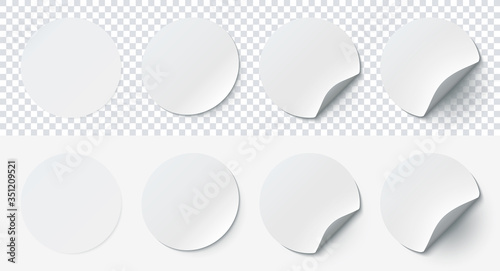 Valokuvatapetti Mockup realistic paper round stickers white colors with curved corner and shadow