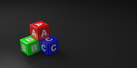 ABC toy blocks or cubes with red, green and blue colors on black background. 3D illustration