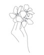 Line art human hands and flower icon, minimalist tattoo concept, line style, vector illustration. Vector illustration isolated on white background