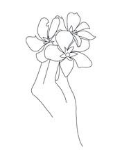 Line Art Human Hands And Flowe...
