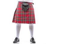 Cropped View Of Scottish Man In Red Kilt With Leather Belt Bag On White Background
