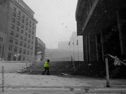 Tela Cleaners At Boston City Hall During Snowfall