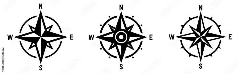 Fototapeta Compass set. Wind rose symbol. Vector