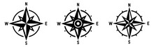 Compass Set. Wind Rose Symbol. Vector