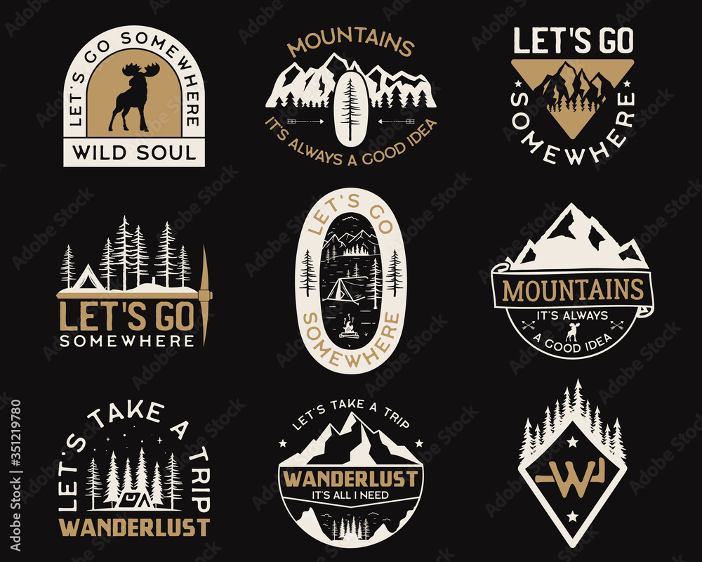 Fototapeta Vintage camp logos, mountain badges set. Hand drawn labels designs. Travel expedition insignia with wild animals, wanderlust and hiking elements. Outdoor emblems. Logotypes collection. Stock