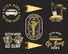 Vintage Summer Logos, Surfing Badges Set. Hand Drawn Labels Designs. Travel Expedition, Wanderlust And Hiking. Outdoor Emblems. Logotypes Collection. Stock Isolated On Black Background