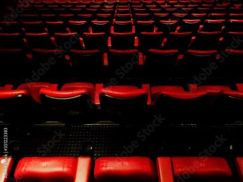 Full Frame Shot Of Empty Seats Canvas Print