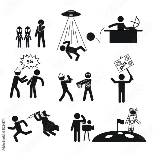 Cuadros en Lienzo Conspiracy theorist people icon set. Vector.