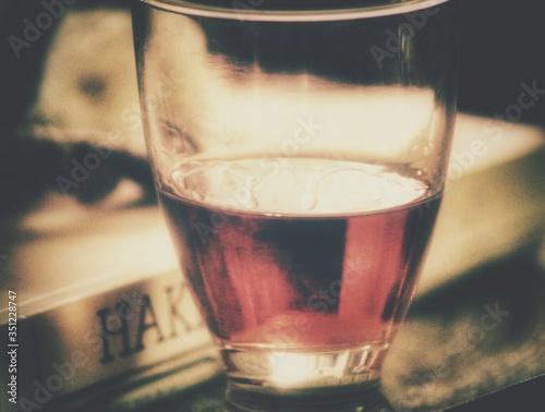 Obraz na płótnie Glass Of Sherry By Book