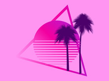 80s Retro Sci-fi Palm Trees On...