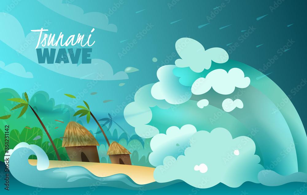 Fototapeta Natural Disasters Tsunami Poster