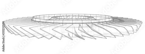 Turbine wheel concept outline. Vector Canvas Print