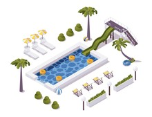 Isometric Pool Scene With Palm...