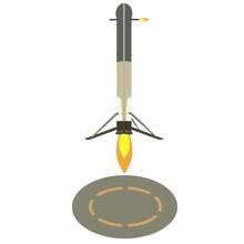 Rocket Landing Illustration. Returning Rocket To It Runway. Isolated On White Background.