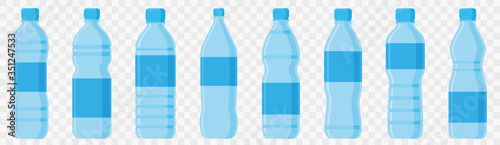 Photo Water bottle in flat style set. Vector
