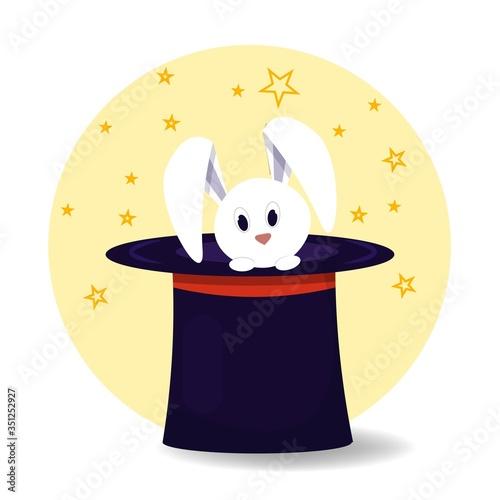Photo White cute rabbit in magic hat stock vector illustration