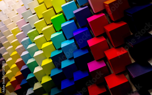 Lots of colorful cubes of diagonally. Radiant Zoas trend. 3D illustration. bright dark colors