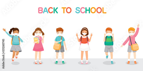 Children Wearing Surgical Mask Happy Back To School, Jumping, Cheerfully Togethe Wallpaper Mural
