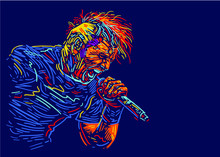 Singer Man Character. Rock Vocalist. Abstract Vector Illustration