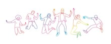 Happy People Jumping. Rainbow Colors In Linear Vector Illustration.