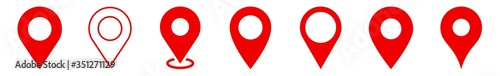 Fototapeta Location Pin Icon Red | Map Marker Illustration | Destination Symbol | Pointer L
