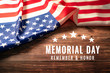 USA Memorial day and Independence day concept, United States of America flag on rustic wooden background