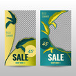 Template of Hello Summer Sale for Social Media and Banner with Fresh Tropical Leaf Background