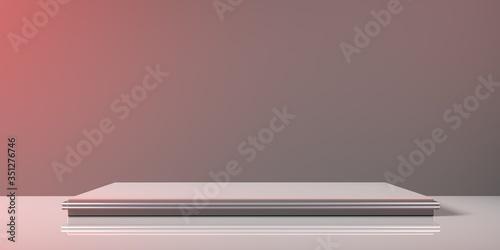 Fotografia Espositore vuoto grigio su fondo grigio, podio o piedistallo per esposizione prodotti, base con sfondo vuoto, Rendering 3D