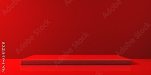 Carta da parati Espositore vuoto rosso su fondo rosso, podio o piedistallo per esposizione prodotti, base con sfondo vuoto, Rendering 3D