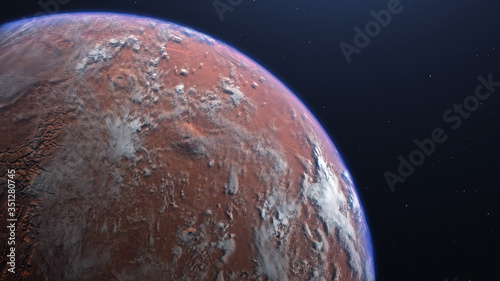 Obraz na plátne 3D rendering of the process of terraforming Mars as a result of humanity coloniz