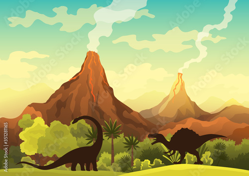 Prehistoric landscape - volcano with smoke, mountains, dinosaurs and green vegetation Tablou Canvas